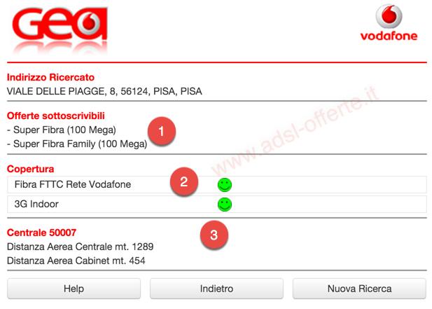 Copertura ADSL e Fibra Vodafone: Copertura ADSL FTTC Vodafone