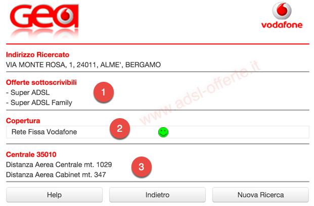 Copertura ADSL e Fibra Vodafone: Copertura ADSL ULL Vodafone