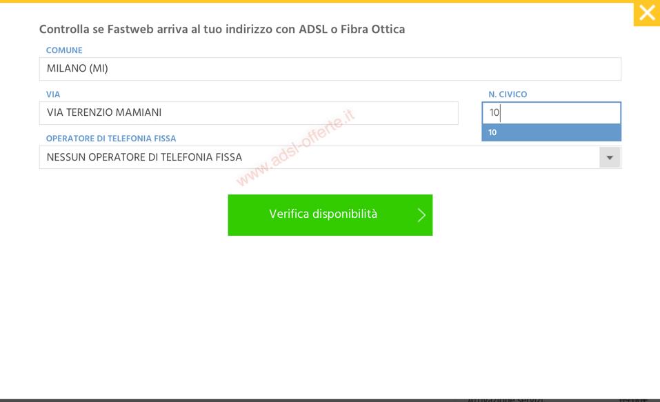 Verifica copertura ADSL e Fibra Fastweb