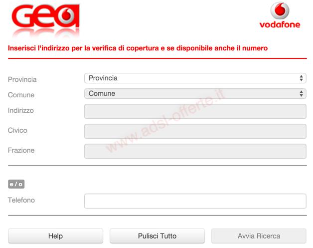 Copertura ADSL e Fibra Vodafone:Risultato verifica copertura Adsl